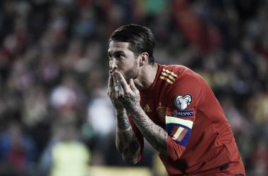 Sergio Ramos celebrando el segundo gol frente a Noruega | Fotografía: UEFA Euro 2020