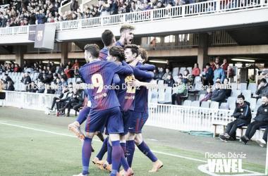 El FCB Juvenil A celebrando un gol ante el Atlético de Madrid. Foto: Noelia Déniz,VAVEL