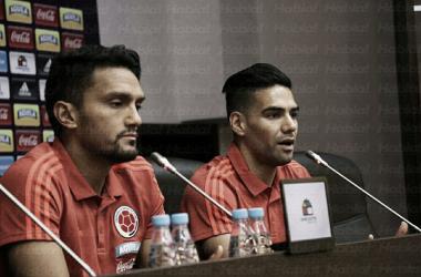 Falcao y Abel Aguilar en la rueda de prensa previa al Colombia-Polonia. Foto: fcf.com.co