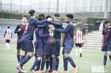 El FCB Juvenil B celebrando un gol. Foto: Noelia Déniz, VAVEL
