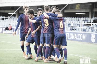 El FCB Juvenil A celebrando el primer gol ante el Real Betis. Foto: Noelia Déniz, VAVEL