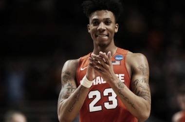 Syracuse Orange guard Malachi Richardson (23) celebrates during the second half in the championship game of the midwest regional of the NCAA Tournament against the Virginia Cavaliers at the United Center. Mandatory Credit: Dennis Wierzbicki-USA TODAY Spor