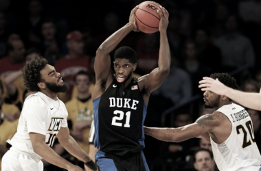 Amile Jefferson #21 of the Duke Blue Devils controls the ball against Jonathan Williams #10 and Jordan Burgess #20 of the Virginia Commonwealth Rams during the 2K Classic at Madison Square Garden on November 20, 2015 in New York City. (Phot