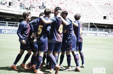 El FCB Juvenil A celebrando un gol. Foto: Noelia Déniz, VAVEL