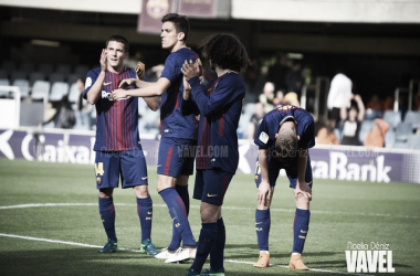 El Barça B tras la derrota ante el Rayo Vallecano. Foto: Noelia Déniz, VAVEL