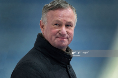 HUDDERSFIELD, ENGLAND - JANUARY 30: Stoke City manager Michael O'Neill is interviewed after the Sky Bet Championship match between Huddersfield Town and Stoke City at John Smith's Stadium on January 30, 2021 in Huddersfield, England. Sporting stadiums around the UK remain under strict restrictions due to the Coronavirus Pandemic as Government social distancing laws prohibit fans inside venues resulting in games being played behind closed doors. (Photo by Joe Prior/Visionhaus)