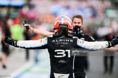 Esteban Ocon celebrates his first ever Formula One win. (Photo by Peter Fox/Getty Images)