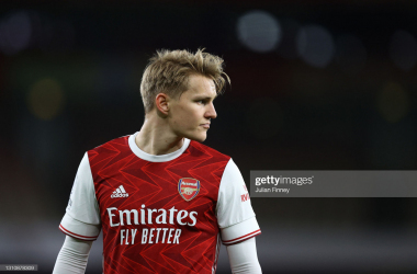 LONDON, ENGLAND - APRIL 03: Martin Odegaard of Arsenal looks on during the Premier League match between Arsenal and Liverpool at Emirates Stadium on April 03, 2021 in London, England. Sporting stadiums around the UK remain under strict restrictions due to the Coronavirus Pandemic as Government social distancing laws prohibit fans inside venues resulting in games being played behind closed doors. (Photo by Julian Finney/Getty Images)