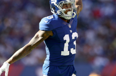 EAST RUTHERFORD, NJ - SEPTEMBER 25:   Odell Beckham Jr. #13 of the New York Giants calls out a play in the second half against the New York Giants  at MetLife Stadium on September 25, 2016 in East Rutherford, New Jersey.The Washington Redskins defeat
