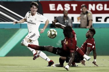 Odriozola durante su debut con el Real Madrid | Foto: Realmadrid.com