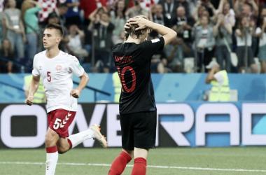 Luka Modric lamentándosepor el penalti errado. | Fuente: FIFA.com