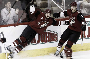 Oliver Ekman-Larsson loses his balance celebrating his 100th career goal. (Photo: FoxSports)