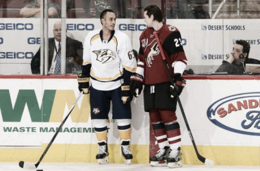 Former teammates Mike Ribeiro and Oliver Ekman-Larsson chat before the game.p.p1 {margin: 0.0px 0.0px 0.0px 0.0px; text-align: center; font: 10.0px Verdana; color: #b6b6b6; -webkit-text-stroke: #b6b6b6; background-color: #343434}span.s1 {