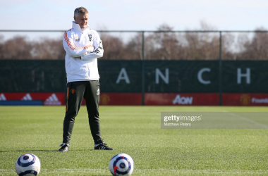 MANCHESTER, ENGLAND - FEBRUARY 26: (EXCLUSIVE COVERAGE) Manager Ole Gunnar Solskjaer of Manchester United in action during a first team training session at Aon Training Complex on February 26, 2021 in Manchester, England. (Photo by Matthew Peters/Manchester United via Getty Images)