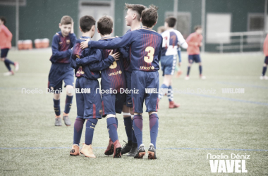 Los jóvenes futbolistas del Alevín A celebrando un gol | Foto: Noelia Déniz - VAVEL