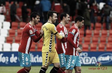 La fortaleza defensiva es una de las mayores virtudes del Lugo. Fotografía: La Liga 123