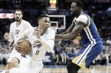 Will we see a pairing of Russell Westbrook and any of the four Warriors selected to the All-Star Game on Team LeBron or Team Steph? Photo: Mark D. Smith-USA TODAY Sports