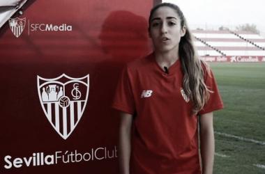 Olga Carmona en una entrevista con su club, el Sevilla FC Femenino, tras conocer su convocatoria / Foto: Sevilla FC