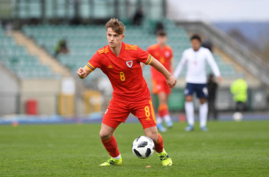 <div>CARDIFF, WALES - MARCH 29: Oil Ewing of Wales U18 in action during the International Friendly match between Wales U18 and England U18 at Leckwith Stadium on March 29, 2021, in Cardiff, Wales. (Photo by Athena Pictures/Getty Images)</div>
