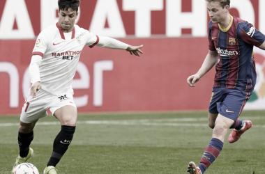 Óliver y de Jong en el encuentro de ida | Foto: Sevilla FC