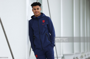 The Villa forward reporting for his first day as an England International (Photo by Eddie Keogh - The FA/The FA via Getty Images)
