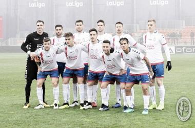 Los once jugadores antes de un partido. Fotografía: Rayo Majadahonda