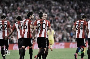 Los jugadores del Athletic celebran un gol ante el Sporting | Foto: La Liga