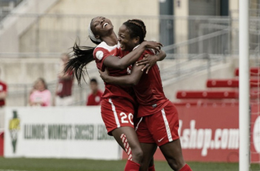 Francisca Ordega (right) celebrates after a goal | Source: Daniel Bartel - ISI Photos