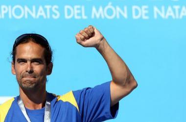 Orlando Duque en la ceremonia de premiación del Mundial de Natación de Barcelona. (Foto: www.rtve.es)