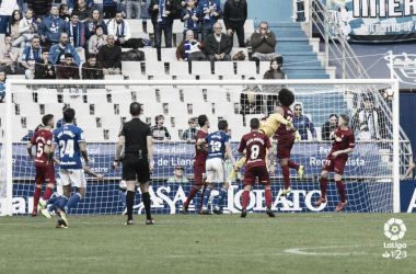 Gol del R. Oviedo frente a Osasuna en Asturias. Foto: LaLiga 123