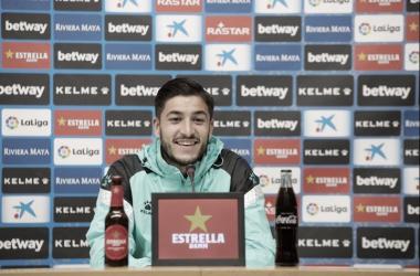 Óscar en la rueda de prensa. Fotografía: RCD Espanyol S.A