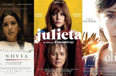 Carteles de las tres películas preseleccionadas como candidatas a los Oscar 2017, 'La novia', 'Julieta' y 'El olivo'. [Montaje: Irene Izquierdo; Fotos: Filmaffinity