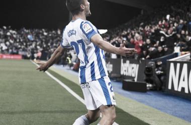 Óscar Rodríguez celebrando su gol frente al Levante | Foto: CD Leganés