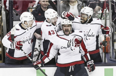 The Washington Capitals celebrate an Alex Ovechkin goal.  | (Photo: Washington Post)