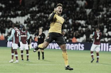 Oxlade-Chamberlain celebra un gol ante el West Ham   Fotografía: Arsenal