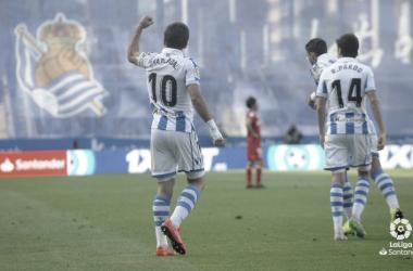 Mikel Oyarzabal celebra el 2-0 frente al Getafe el pasado domingo en el Estadio de Anoeta (FOTO://LaLiga)
