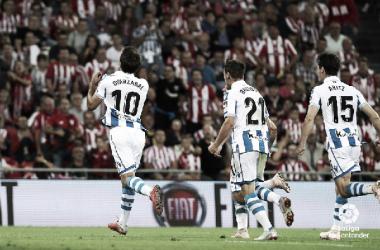 Mikel Oyarzabal asumió la responsabilidad y desequilibró el partido. Foto: La Liga