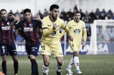 Fede Vico en El Alcaraz en el encuentro entre el Lugo y el Huesca. //Fuente: LFP