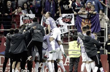 El Real Valladolid celebra uno de sus goles ante el Numancia / Foto: realvalladolid.es