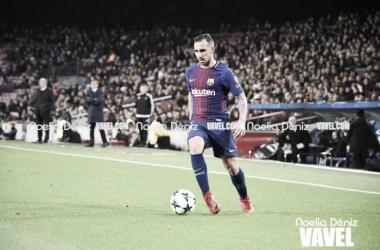 Paco Alcácer ante el Real Murcia en el Camp Nou. Foto: Noelia Déniz, VAVEL