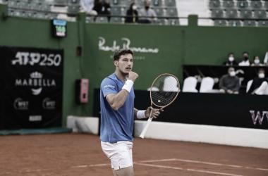Pablo Carreño celebrando el pase a cuartos en el Andalucía Open. (Fuente: Twitter @AndaluciaOpen)