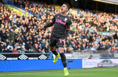 Pablo Hernandez celebrates his goal against Huddersfield last week as Leeds earned their sixth consecutive win. Photo by George Wood/Getty Images.
