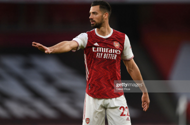 LONDON, ENGLAND - FEBRUARY 21: Pablo Mari of Arsenal during the Premier League match between Arsenal and Manchester City at Emirates Stadium on February 21, 2021 in London, England. Sporting stadiums around the UK remain under strict restrictions due to the Coronavirus Pandemic as Government social distancing laws prohibit fans inside venues resulting in games being played behind closed doors. (Photo by David Price/Arsenal FC via Getty Images)