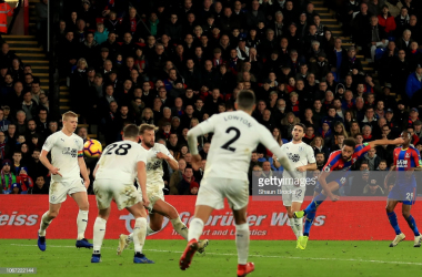 Andros Townsend fires in Crystal Palace's second goal as Burnley limply fell to another defeat (Photo: Getty Images: Shaun Brooks)