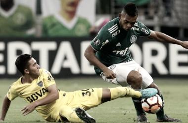 Borja em disputa de bola contra o Boca no Allianz Parque (Foto: Cesar Greco/ Ag.Palmeiras/ Divulgação)