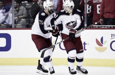 Nick Foligno and Artemi Panarin (Photo courtesy of Sports Illustrated, Patrick Mcdermott)