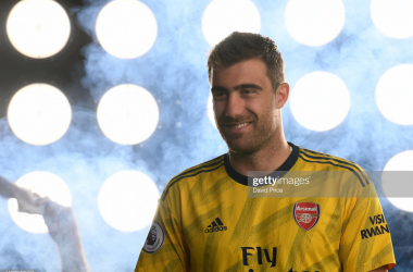 ST ALBANS, ENGLAND - AUGUST 07: Sokratis of Arsenal during the Arsenal Media Day at London Colney on August 07, 2019 in St Albans, England. (Photo by David Price/Arsenal FC via Getty Images)