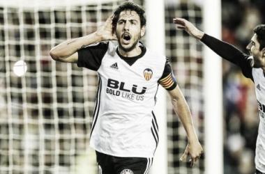 Dani Parejo celebrando el gol que cerraba el marcador frente al Levante UD. Fuente: Valencia CF.