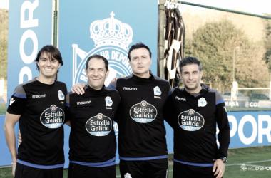 Cristóbal Parralo y su staff técnico en su primer entrenamiento con el primer equipo // @RCDeportivo