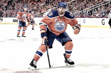 Patrick Maroon Edmonton Oilers. (Photo by Andy Devlin)